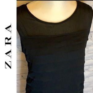 Zara Basic l Black ruffle dress